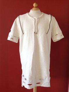 BLACK KAVIAR mens Ivory Cotton Holes Cutout Long Tee T-shirt  Size 3XL Portugal #blackcaviar #longtee
