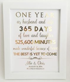 Gold Foil Print, First 1st Anniversary Gift, For Husband or Wife, Customizable, Personable, Real Gold Foil by LaJoliBijou on Etsy https://www.etsy.com/listing/245468959/gold-foil-print-first-1st-anniversary