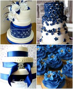 Royal blue wedding cake ideas <3