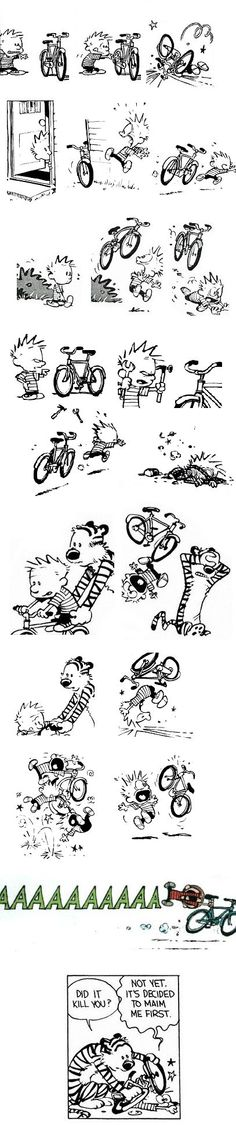Calvin and Hobbes ~ Attack of the Bicycle Calvin Y Hobbes, Hobbes And Bacon, Bicycle Art, Fun Comics, Cool Cartoons, Hobbs, Belle Photo, Comic Strips, The Funny