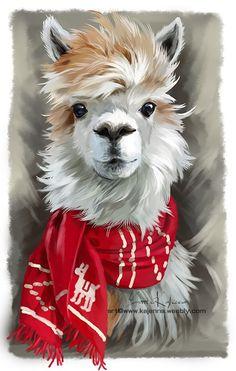 Alpaca by Kajenna.deviantar… on Alpaca by Kajenna. Alpacas, Animal Paintings, Animal Drawings, Art Drawings, Llama Arts, Llama Alpaca, Christmas Paintings, Christmas Animals, Whimsical Art
