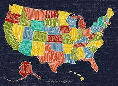 Map Wall Mural with USA Map