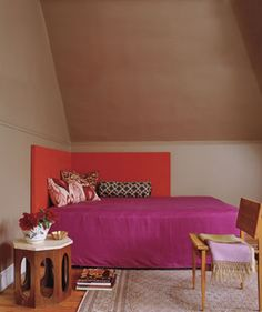corner headboard by ooh_food, via Flickr  Headboards don't have to be on just one wall