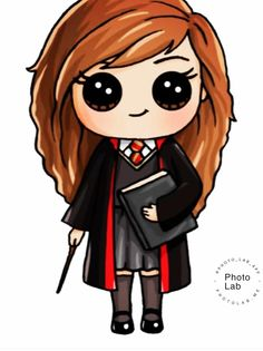 if you like harry potter this special for you i hope you like it Kawaii Girl Drawings, Cute Little Drawings, Cute Disney Drawings, Cute Easy Drawings, Cute Girl Drawing, Cartoon Girl Drawing, Harry Potter Ron And Hermione, Harry Potter Cartoon, Harry Potter Drawings