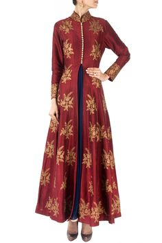 SVA Red and blue cape gown anarkali | Pernia's Pop-Up Shop