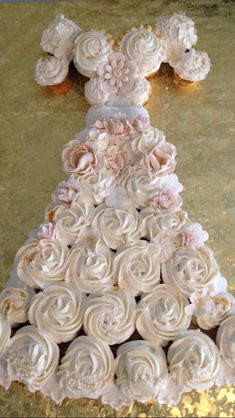 Wedding dress cupcake cake, chocolate hazelnut filled