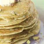 Cardamom pancakes with orange blossom syrup and pistachios