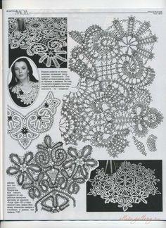 "Gallery.ru / Фото #59 - Салфетки ""брюгге"" (без цветных фотографий) - Alleta Russian Crochet, Form Crochet, Irish Crochet, Crochet Lace, Crochet Stitches, Lace Patterns, Crochet Patterns, Romanian Lace, Bruges Lace"