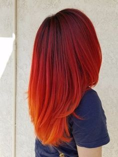 Lovely Hairstyles 43 Most Gorgeous And Eye-catching Sunset Hair Colour Long Hair And Short Hair For Prom And Wedding - Hairstyle 20 , ! Everythings about sexy sunset hairstyle you may love! Red Orange Hair, Red Brown Hair, Red Hair Color, Cool Hair Color, Red Color, Orange Ombre, Sunset Hair, Bright Hair Colors, Hair Colours