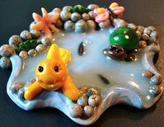 Summer POND  Goldfish & Turtle Playing  Polymer by KatersAcres, $45.00