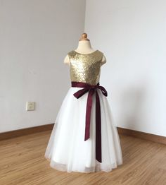 323ace95978 Floor-length Light Gold Sequin Ivory Tulle Flower Girl Dress 2017 with  Burgundy Sash Sequin