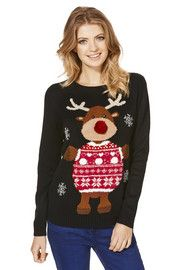 F&F Reindeer Flashing Lights Christmas Jumper