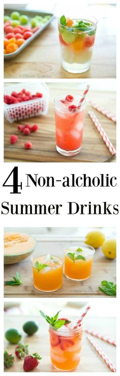 Four non-alcoholic refreshing summer drink recipes. Cantaloupe agua fresca, raspberry vanilla soda, strawberry limeade, and melon sorbet float. So easy!