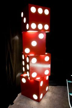 Giant Dice - #Funcasino party ideas #casino #slots #blackjack. Make and use at the front door.