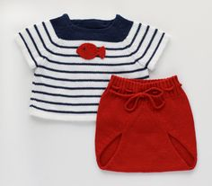 Knitted baby set. Sweater and diaper cover. Red navy by tenderblue