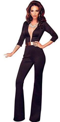 0a0dd4a08a5790 YeeATZ Black Sleeved Plunging Jumpsuit     For more information