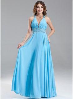 Vestidos princesa/ Formato A Decote V Longos De chiffon Vestido de baile com Pregueado Bordado Lantejoulas