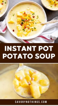 This Loaded Instant Pot Potato Soup is quick, easy and so hearty. It cooks in no time in the pressure cooker for the perfect comfort food lunch or dinner. Made a little more healthy with milk and sour cream instead of heavy cream. Serve with plenty of cheddar for the perfect easy St. Patrick's Day meal! | #instantpot #pressurecooker #potatosoup #soup #recipe #easyrecipes #stpatricksday Quick Summer Meals, Quick Easy Meals, Vegan Comfort Food, Comfort Foods, Slow Cooker Soup, Slow Cooker Recipes, Instant Pot Pork Chops, Loaded Potato Soup, Easy Family Dinners