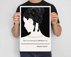 Literary Art Print, Virginia Woolf Black and White Art Poster, Illustration, Literature Quote E.R.