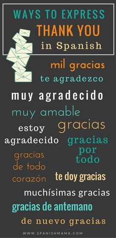 How to say thank you in Spanish: different ways to express gracias! How to say thank you in Spanish: different ways to express gracias! Spanish Phrases, Spanish Grammar, Spanish Vocabulary, Spanish Words, Spanish Language Learning, Spanish Teacher, Spanish Classroom, Teaching Spanish, Spanish Sentences