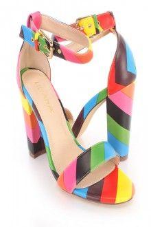 Rainbow Single Sole Open Toe Chunky Heels Faux Leather