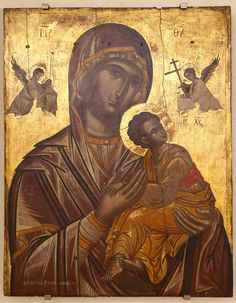Virgin Mary of the Passion late century, Emmanuel Tzanfournaris Archangel Gabriel, Archangel Michael, Byzantine Icons, Byzantine Art, Religious Icons, Religious Art, Art Roman, Russian Icons, Blessed Mother Mary