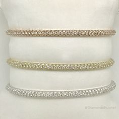 14k White Gold, Yellow Gold and Rose Gold Pave Diamond Bangles. Diamond weight 1.76 ct. each.