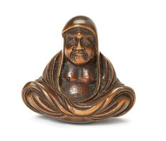 A wood netsuke of Daruma By Hara Shumin, Edo, 19th century