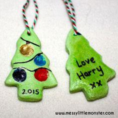 salt dough fingerprint christmas tree. Makes a great keepsake, gift tag or tree ornament