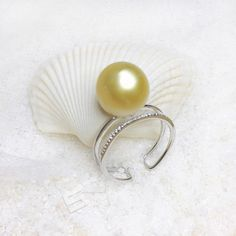 13.5MM Golden Pearl Ring Authentic Golden South Sea Pearl In