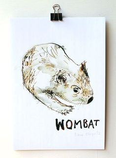 'Wombat' is a beautiful reproduction of an ink on paper illustration by artist Diana Ellinger. This A4 print blends strong earthy tones and is hand signed by the artist. | huntingforgeorge.com