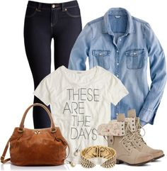 I'd tweak this one- this would be cute without the bracelet and purse. For school, I would do this with black/ white chucks and more of a boho themed jewelry