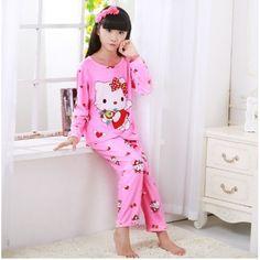 f460b3888ce9 Autumn Spring Lovely Girl Pajamas Children Cartoon Pajamas set