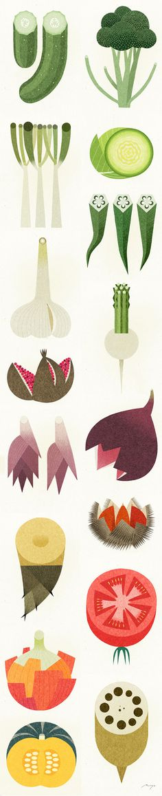 Classy fruit & vegetable illustrations. Love the simple design. #art