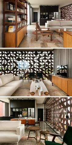 Inside this small house, the main area is completely open plan, with the living room, dining room and kitchen all sharing the same space. The blocks create an interesting pattern and are almost like walls of art.