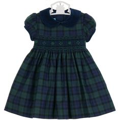 Anavini blackwatch plaid smocked dress with navy velvet collar ($85) ❤ liked on Polyvore featuring dresses, smock dress, smocked dresses, tartan dress, blue plaid dress and blue dress