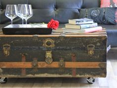 DIY Coffee Table from Antique Steamer Trunk I like the clean