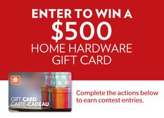 For more entries, share this contest with your friends! Contest runs from November 4 to December 2015 The Marketing, Home Hardware, Home Gifts, Home Improvement, Cards, Ms, February, Running, House