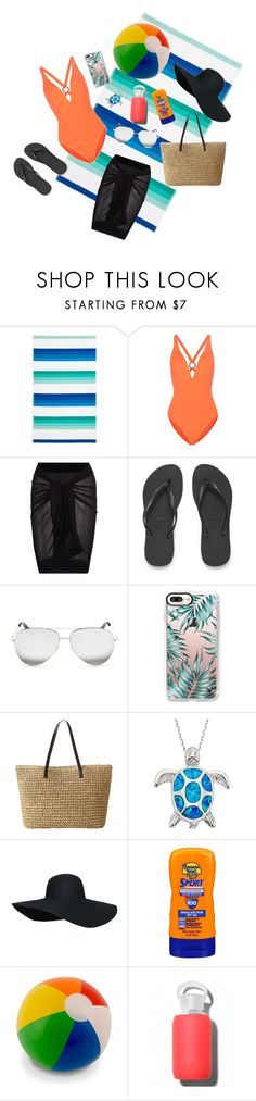 """""""Out At The Beach"""" by princesswaterlily ❤ liked on Polyvore featuring Sky, Proenza Schouler, La Perla, Havaianas, Victoria Beckham, Casetify, Banana Boat and bkr"""