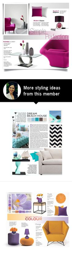 """""""Simple Perfection. Fuchsia and grey."""" by rugile-pp on Polyvore featuring interior, interiors, interior design, home, home decor, interior decorating, Artifort, Arco, Sagebrook Home and Mellem"""