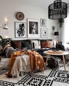 Fall Living Room, Boho Living Room, Cozy Living Rooms, Apartment Living, Bright Apartment, Apartment Interior, Interior Doors, Interior Paint, Boho Room