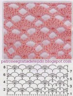 Crochet Blusas Patterns Renovamos nuestros puntos , con esta media docena de puntos crochet que puedes usar para tejer mantillas de bebé, saquitos, blusas de dama, . Filet Crochet, Crochet Shell Stitch, Crochet Motifs, Crochet Dishcloths, Crochet Diagram, Crochet Stitches Patterns, Crochet Chart, Crochet Doilies, Stitch Patterns