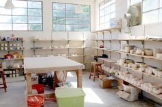 Where I Work: Pigeon Toe Ceramics' drying racks and in-production pieces, via @Design Milk