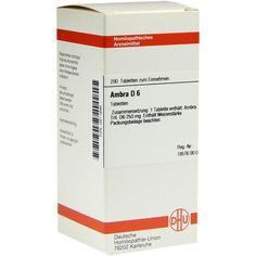 AMBRA D 6 Tabletten:   Packungsinhalt: 200 St Tabletten PZN: 02811694 Hersteller: DHU-Arzneimittel GmbH & Co. KG Preis: 10,49 EUR inkl.…