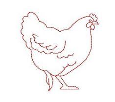 Redwork Machine Embroidery hen chicken kitchen by AliceBroderie, $2.50