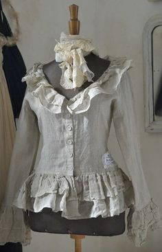 SALE NOW 79.00 Jeanne dArc Living Vintage Style European Linen Jacket with Ruffles Medium, Large, or XLarge, Please specify size when ordering! 1