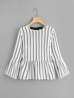 Knot Back Striped TopFor Women-romwe Muslim Fashion, Hijab Fashion, Fashion Dresses, Style Fashion, Dress Outfits, Blouse Outfit, Casual Dresses, Classy Dress, Classy Chic