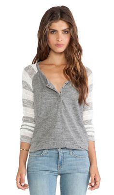 Splendid Rugby Pointelle Loose Knit Henley in White