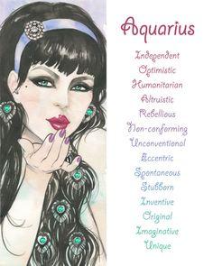 Aquarius Zodiac sign Print Illustration by BlackDiademGallery