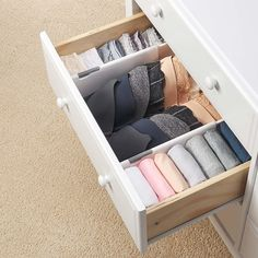 Drawer Divider - The One Thing I Bought (& Still Use!) After KonMari-ing My Entire Home Dresser Drawer Organization, Home Organisation, Diy Organization, Diy Drawer Dividers, Underwear Organization, Underwear Storage, Clothing Organization, Organization Ideas For Bedrooms, Organizing Ideas